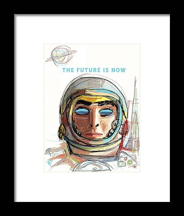 Astronaut Framed Print featuring the mixed media The Future Is Now by Russell Pierce