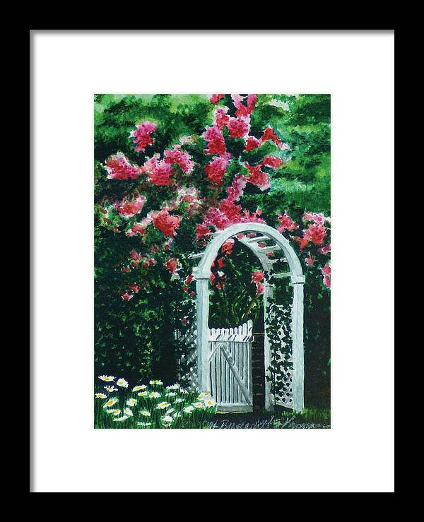 Flowers Framed Print featuring the painting The Garden Gate by Bernadette Kazmarski
