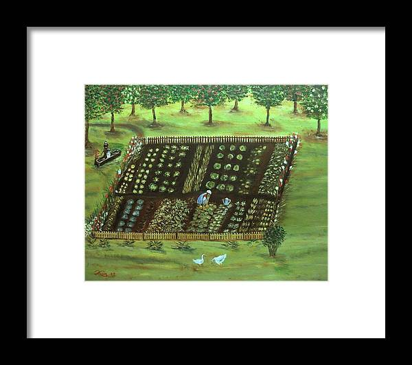 Landscape Framed Print featuring the painting The Garden by Kenneth LePoidevin