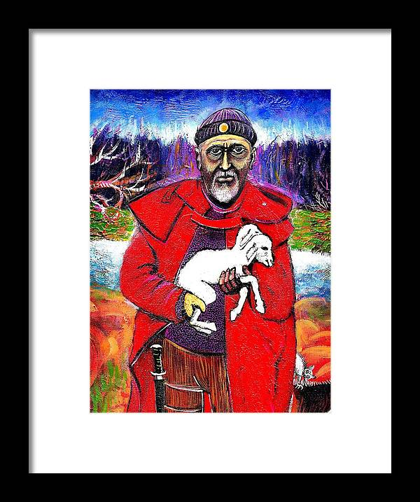 Portraits Framed Print featuring the painting The Good Shepherd by ITI Ion Vincent Danu