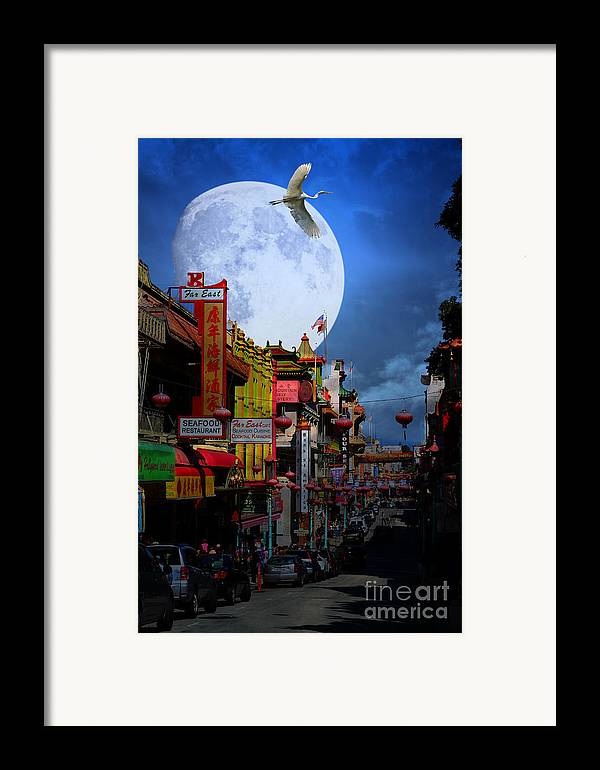 San Francisco Framed Print featuring the photograph The Great White Egret Of Chinatown . 7d7172 by Wingsdomain Art and Photography