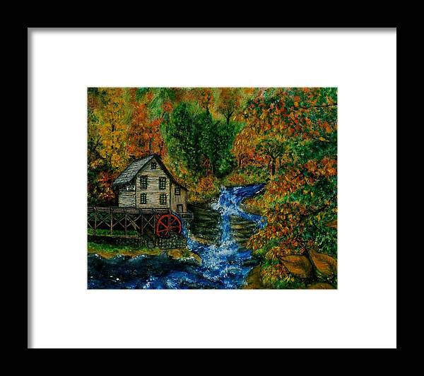 Mill Framed Print featuring the painting The Grist Mill in Autumn by Tanna Lee M Wells