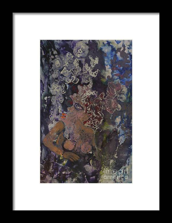 Encaustic Framed Print featuring the painting The Joker Lady by Heather Hennick