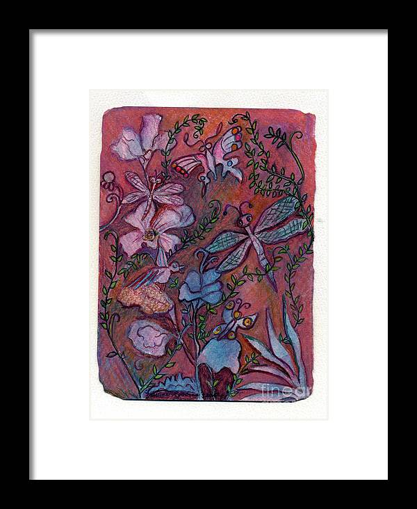 Dragonflys Framed Print featuring the painting The Joys Of Nature by Marlene Robbins