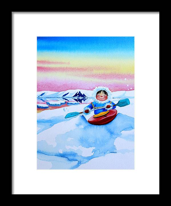 Storybook Illustration Framed Print featuring the painting The Kayak Racer 3 by Hanne Lore Koehler