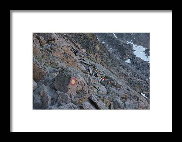 The Ledges Framed Print featuring the photograph The Ledges On Longs Peak by Cynthia Cox Cottam