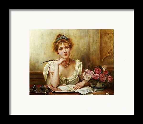 Letter Framed Print featuring the painting The Letter by George Goodwin Kilbourne