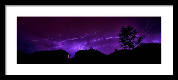 Lightning Framed Print featuring the photograph The Lightning Over Avery Neighborhood by Lisa Spencer