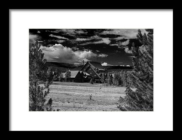 Yellowstone; National Park; Landscape; Lodge; Cabin; Cottage; Hunting; Hotel; Inn; Resort; Motel; Stay; House; Public House; Black; White; Cloud; Pine; Tree; Overcast; Christmas Tree; Grass; Lawn Framed Print featuring the photograph The Lodge by D L McDowell-Hiss