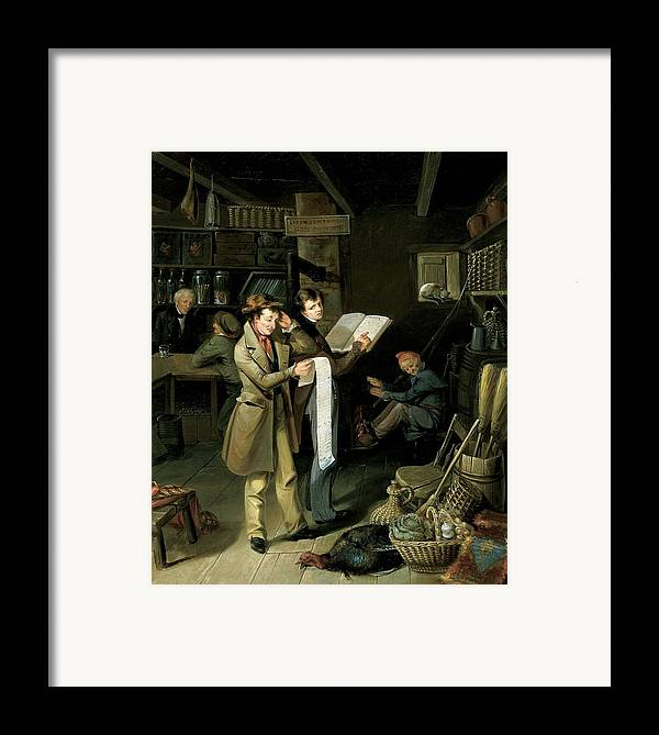 Male Framed Print featuring the painting The Long Bill by James Henry Beard