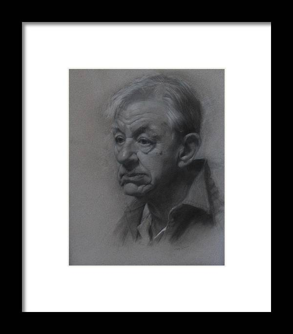 Drawing Framed Print featuring the drawing The Machinist by Mary Jo Johnson