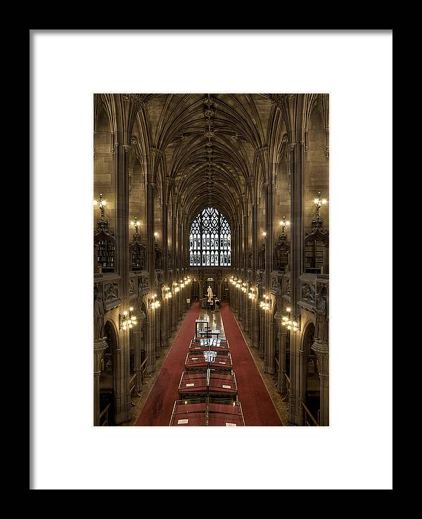 Photography Framed Print featuring the photograph The Main Library Hall by Dave Wood