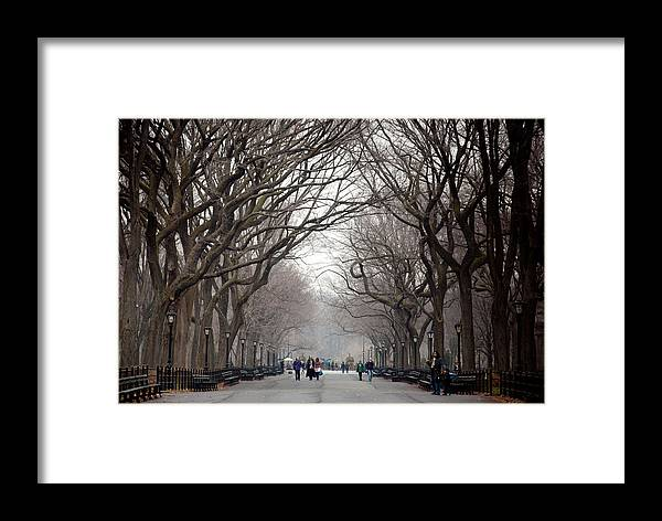 The Mall Framed Print featuring the photograph The Mall Central Park by Heidi Reyher