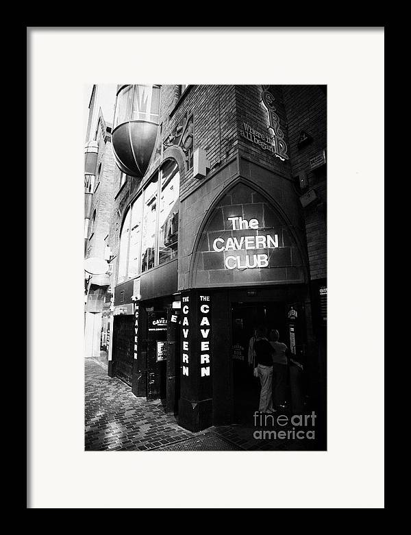 Mathew Framed Print featuring the photograph The New Cavern Club In Mathew Street In Liverpool City Centre Birthplace Of The Beatles by Joe Fox