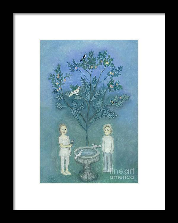 Children In The Garden Framed Print featuring the painting The Old Fountain by K Prager