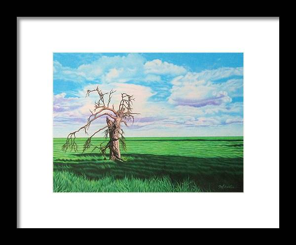 Tree Framed Print featuring the drawing The Old Man On Green Valley Road by Joe Christensen