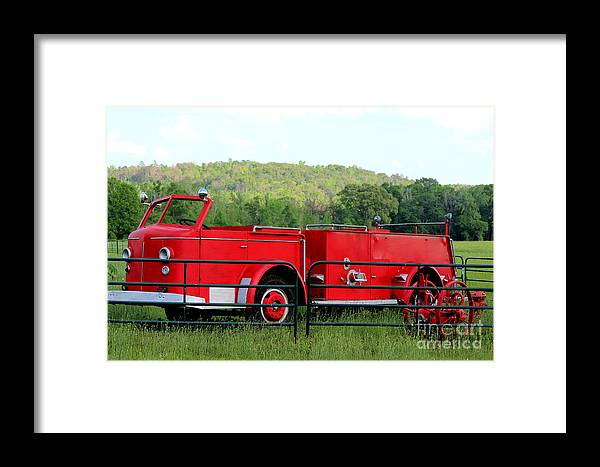 Firemen Framed Print featuring the photograph The Old Red Fire Engine by Kathy White