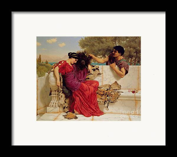 The Old Framed Print featuring the painting The Old Story by John William Godward