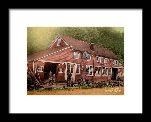 Blacksmith Shops Framed Print featuring the painting The Palmer Bates' Blacksmith Shop In Potter Hollow N Y Around 1910 by Dwight Goss