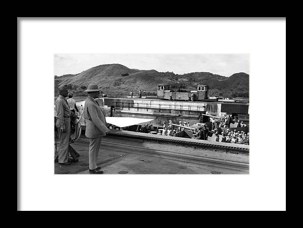 20th Century Framed Print featuring the photograph The Panama Canal, U.s. Troops Passing by Everett