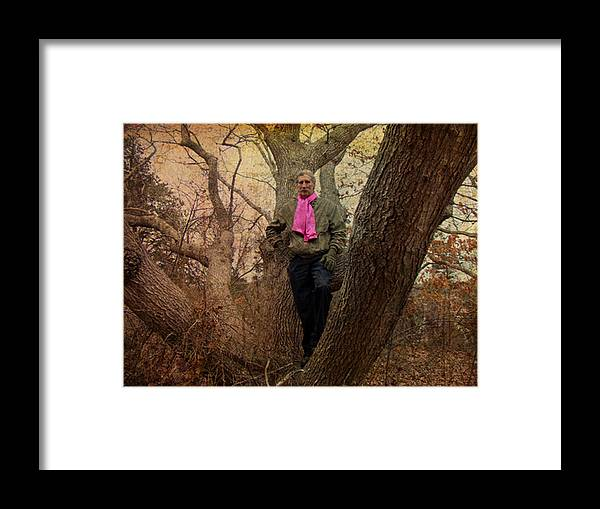 The Knob Framed Print featuring the photograph The Pink Scarf by Mother Nature