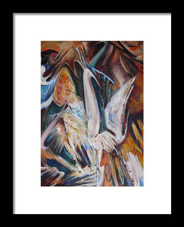 Art Framed Print featuring the digital art The Pompous Bird by Stefano Popovski