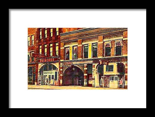 Theaters Framed Print featuring the painting The Princess And Grand And Star Theatres On Amusement Row State Street In Erie Pa In 1910 by Dwight Goss