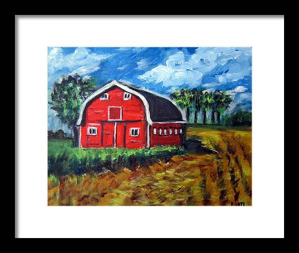 Wheatfields Framed Print featuring the painting The Red Barn by Lia Marsman