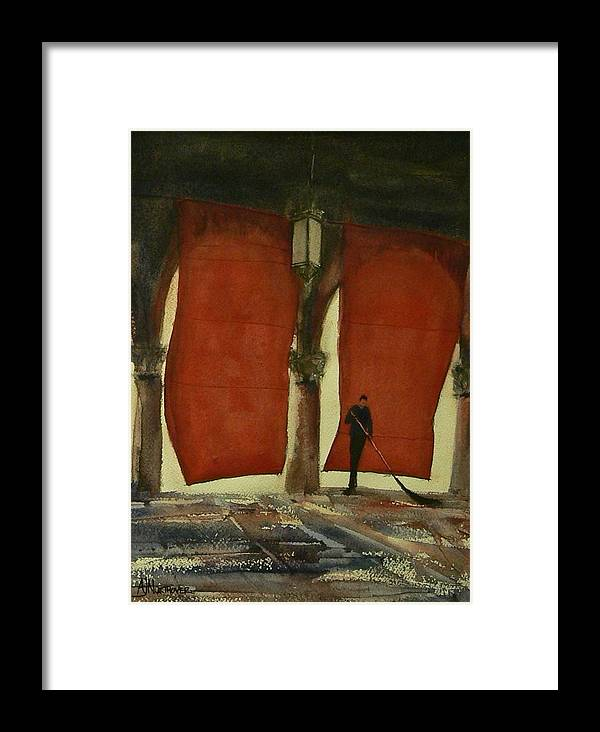 Red Framed Print featuring the painting The Red Blinds Of Venice Fish Market by Tony Northover