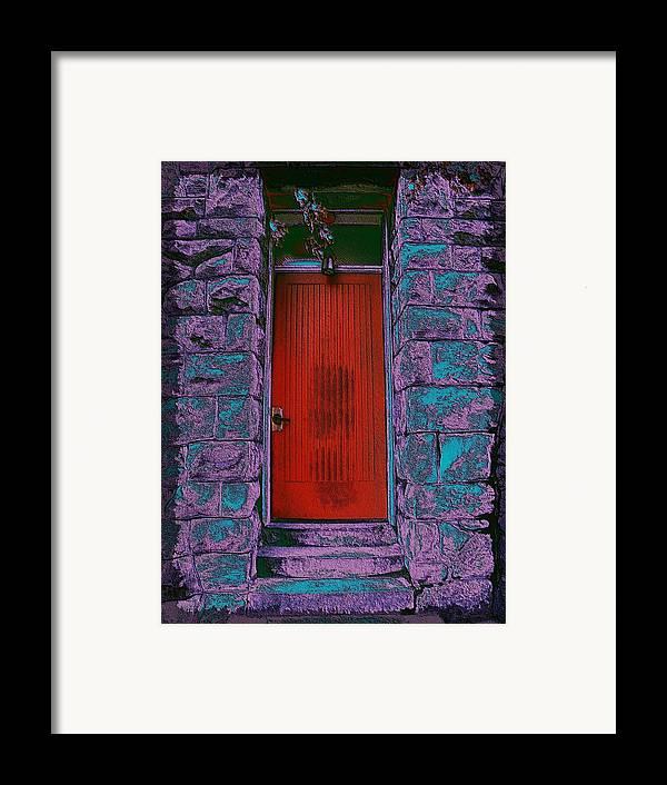 Door Framed Print featuring the digital art The Red Door by Tim Allen