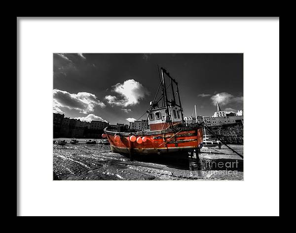 Red Framed Print featuring the photograph The Red Fishing Boat by Rob Hawkins