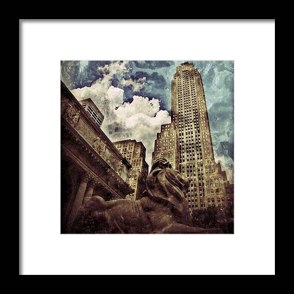 Building Framed Print featuring the photograph The Resting Lion - Nyc by Joel Lopez