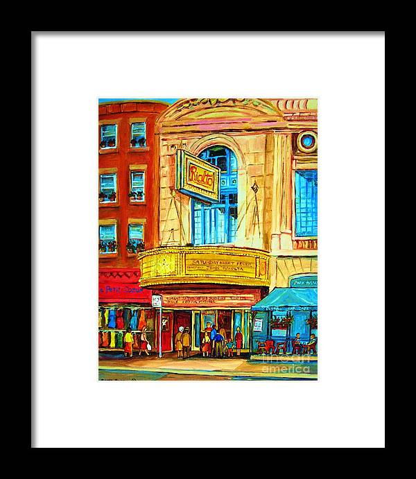 Street Scene Framed Print featuring the painting The Rialto Theatre by Carole Spandau