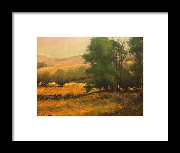 Painting Framed Print featuring the painting The Road Less Traveled by Jim Gola