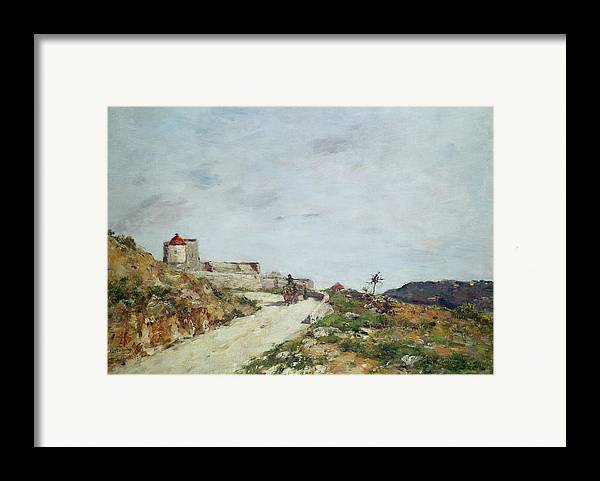 The Framed Print featuring the painting The Road To The Citadel At Villefranche by Eugene Louis Boudin