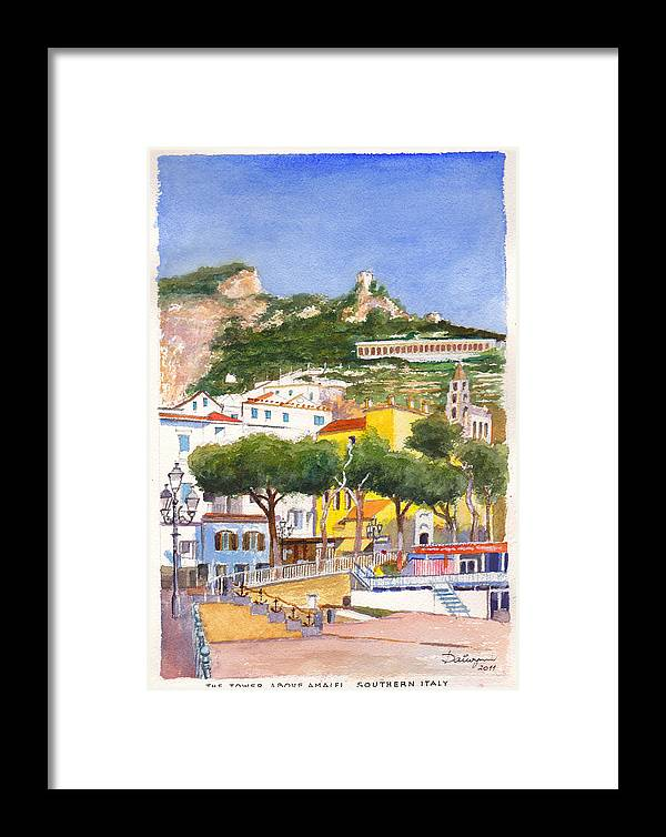 Beach Framed Print featuring the painting The Ruined Tower Above The Beach At Amalfi On The Southern Italian Coast by Dai Wynn