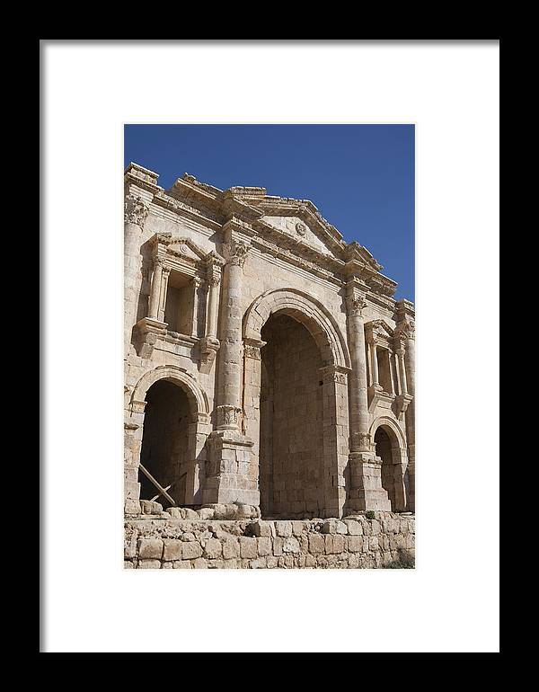 Columns Framed Print featuring the photograph The Ruins Of The Ancient City Of Jerash by Taylor S. Kennedy