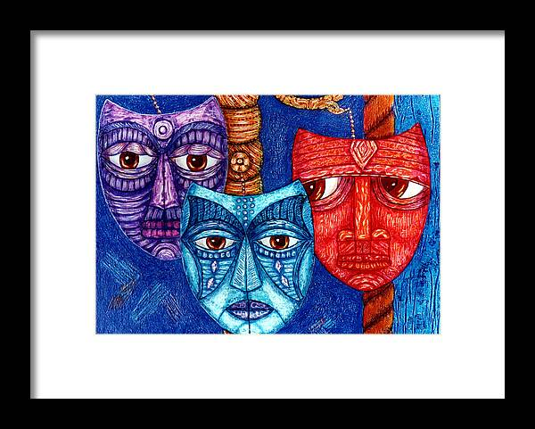 The Sadness Framed Print featuring the painting The Sadness The Mistrust And The Fatigue by Madalena Lobao-Tello
