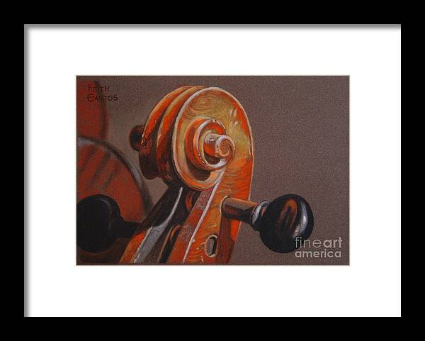 Violin Framed Print featuring the pastel The Scroll and Pegs by Keith Gantos