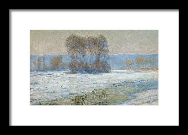 The Seine At Bennecourt Framed Print featuring the painting The Seine At Bennecourt by Claude Monet