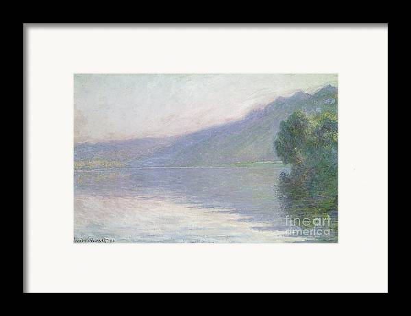 River; Foggy; Fog; Impressionist; Landscape; Yvelines Framed Print featuring the painting The Seine At Port Villez by Claude Monet