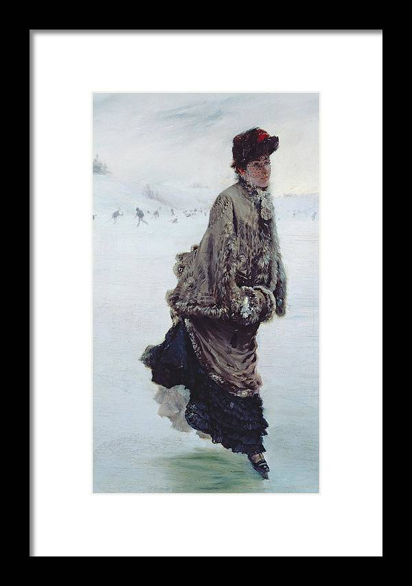 The Skater (oil On Canvas) La Patineuse; Female; Ice Skating; Rink; Snow; Winter; Fur; Muff; Hat; Skates; Leisure; Portrait Framed Print featuring the painting The Skater by Joseph de Nittis