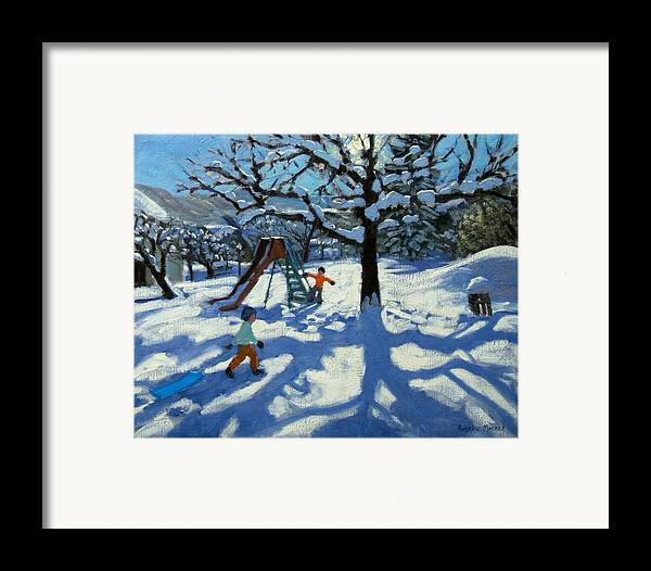 Swiss Landscape Framed Print featuring the painting The Slide In Winter by Andrew Macara