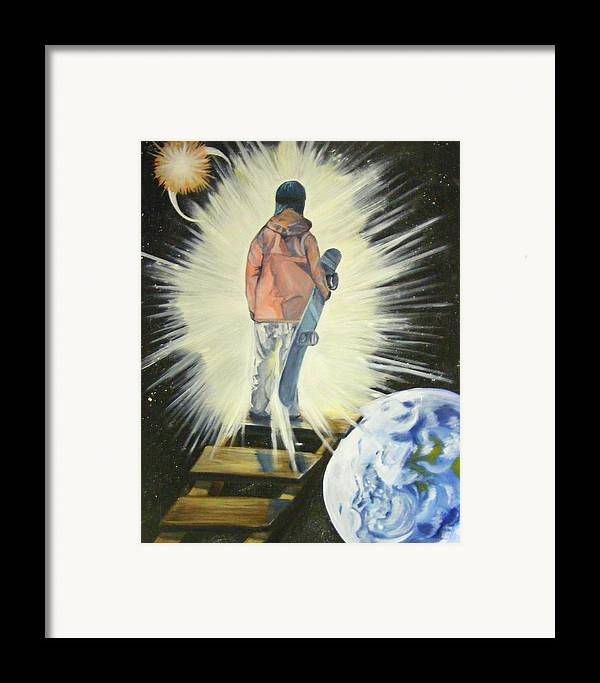Dream Framed Print featuring the painting The Snowboarder's Dream by Laura Evans