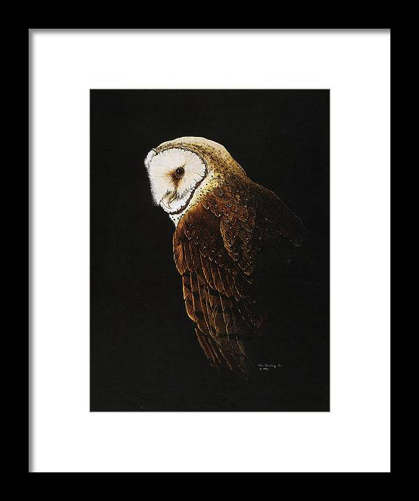 Owl Framed Print featuring the drawing The Sorceror by Bill Gehring