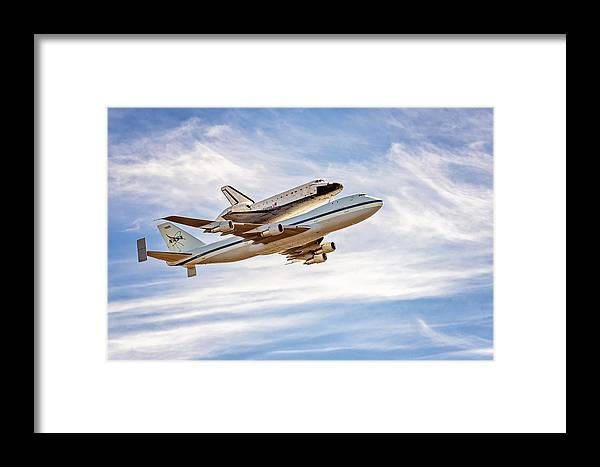 The Space Shuttle Endeavour Flies By Golden Gate Bridge Framed Print featuring the photograph The Space Shuttle Endeavour by David Yu