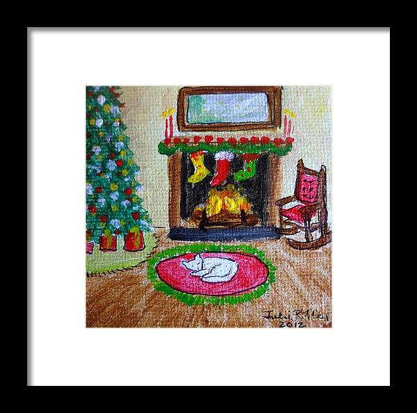 Fireside Framed Print featuring the painting The Stockings Were Hung by Julie Brugh Riffey