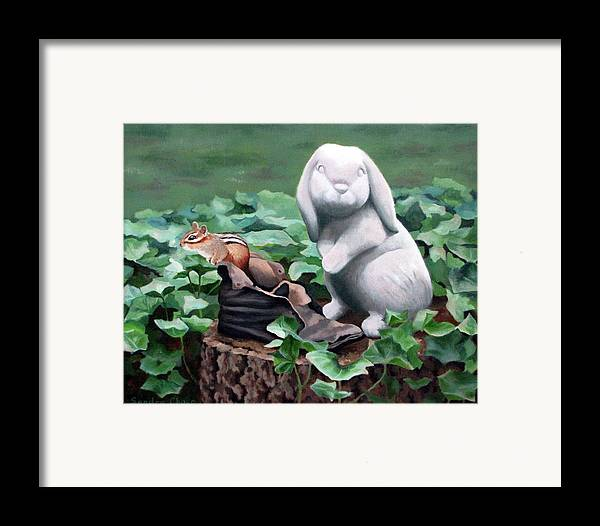 Chipmunk Framed Print featuring the painting The Stone Rabbit by Sandra Chase