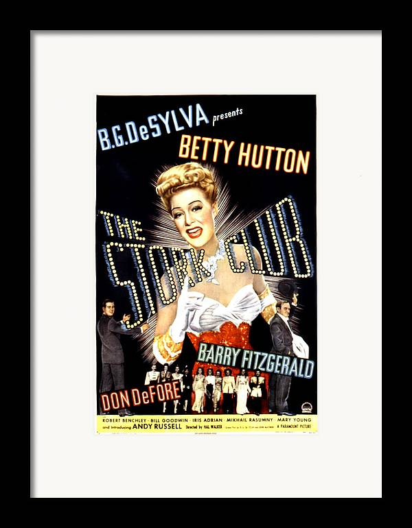 1940s Movies Framed Print featuring the photograph The Stork Club, Don Defore, Betty by Everett