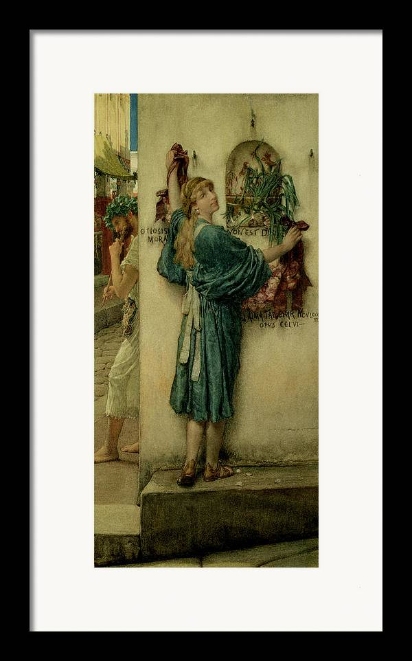 The Framed Print featuring the painting The Street Altar by Sir Lawrence Alma-Tadema